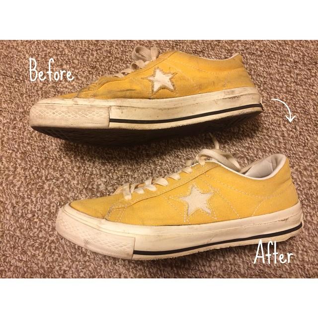 BBQではしゃぎすぎた残念なmyコンバース。。#wolyパワークリーン を使うとこんなに綺麗に。また履けると一安心 (´-`).。oO#靴磨き女子部