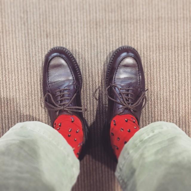 エスプリ軍曹の名の通りフランス靴が好きです#jmweston #691 #golf #shoecare #shoecaregirls #足元倶楽部 #エスプリ軍曹#Macintosh #sock #グラミチ #パンツはアメリカン? #動きやすいグラミチ最高 #ナロークロップド