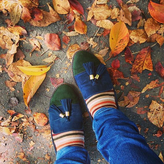 秋ですね~。休日お出かけの帰り道、心地よい風に吹かれながらスエードの秋色パンプスで近所をお散歩♪ #ハスキー犬 #靴磨き女子部 #本日の足元チラッ #orientaltraffic #秋