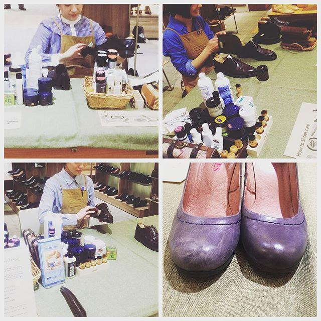 先日の靴磨きworkshopにてお客様がケアされたパンプスです︎ :とってもきれいに!:右がお手入れ後なんですが、色を入れたわけではないんです。靴クリーム(無色透明)を入れて磨いたら革の発色があがりました♩:色クリームを入れなくて、ちょっとした塗り方や仕上げ方のコツで回復するケースもあるんです:今週の靴磨き女子部workshop詳細はプロフィールからどうぞ@shoecaregirls#shoecaregirls#matsuyaginza #workshop#ワークショップ#mmowbray#足もと倶楽部#靴磨き倶楽部#靴磨き女子部こびと#靴磨き女子部ピンクレンジャー#靴磨き女子部ハスキー犬#バクバクコアラ