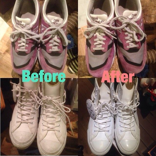 #batoma 2日目は出展者の方の素敵なスニーカーをお手入れさせていただきました!(ありがとうございました︎!)写真ではわかりにくいかもしれませんが… #batoma ではお手入れのお悩み、お手入れの方法のご相談も承っております! #靴磨き女子部 #場と間 #shoecare #randd #mowbray #スニーカー #newbalance #converse #okamototaro #nb1500