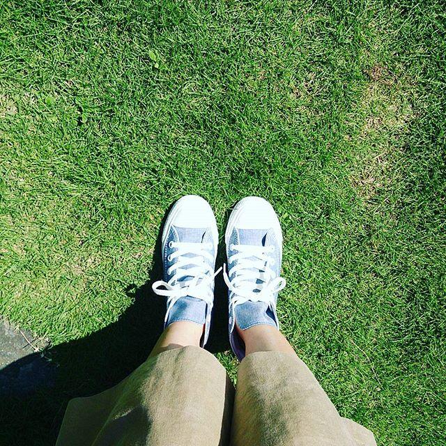 本日はベージュのガウチョにコンバースのオールスター。 爽やかな青に惹かれて先日購入したものです☆#靴磨き女子部 #ハスキー犬 #ハスキーケン #shoecaregirls #mowbraymania #モゥブレィ同盟 #芝生 #夏 #converse #allstar #スニーカー #青 #ガウチョ #本日の足元チラッ #足元クラ部HP:@shoecaregirls