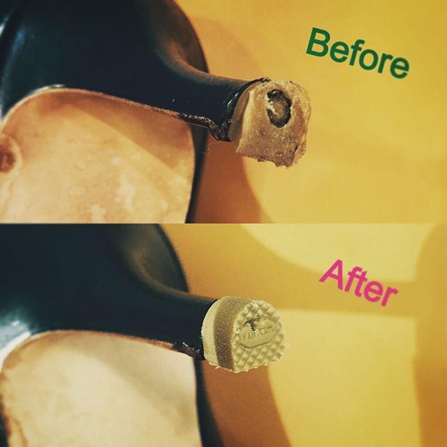 ヒール先端のゴムが削れてきたら、靴の修理屋さんで交換してあげましょう♪ こまめなチェックを心掛けたいですね︎#靴磨き女子部 #くのいち #ヒール #リペア #足元くら部 #靴修理 #shoes #パンプス #サンダル #靴 #シューケア #shoecare