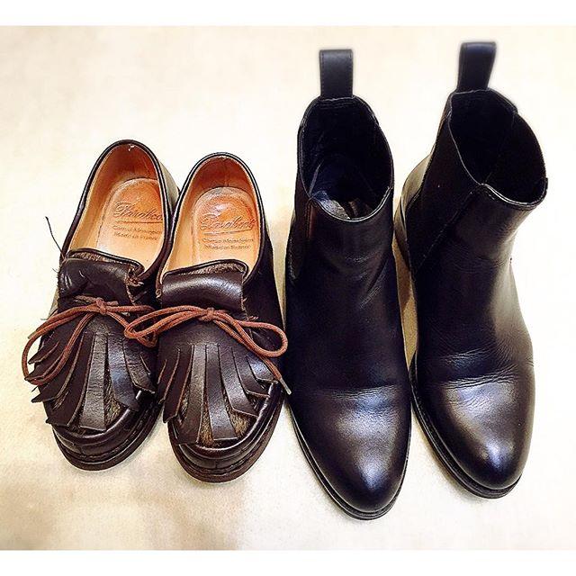 このサイズ感の違い。。しじみ先輩のparabootちゃんかわいすぎます♡HP:@shoecaregirl#paraboot#pony#しじみ先輩#サイドゴアブーツ#グリーンメン #靴磨き女子部 #mmowbray #mowbraymania#サイズ感が#かわいすぎる️