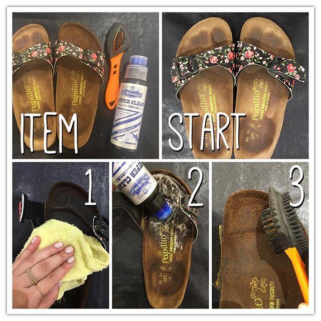 こんばんは♩前の投稿の#シューケア自慢 のHow toです︎ 使用するアイテムは、#Mモゥブレィ ハイパークリーン#Mモゥブレィ クワトロスエードブラシ (スエード用ワイヤーブラシ)#タオル①タオルを濡らして、かためにしぼっておきます。まんべんなく、水拭きをします。濡れた色は均一になるように。②M.モゥブレィ ハイパークリーンを使用してクリーナーを馴染ませます。主に指先の所です。今度はキレイな濡れタオルでクリーナーが残らぬようよく拭き取ります。これは繰り返し何度も何度も。③あとは乾くまで乾燥させるだけです。完全に乾くのは今の時期でも1日位かかります。半乾きくらいの時に、寝てしまったヌバックの毛をブラッシングして起こしておきます。履き心地がフカフカに戻ります♩あくまで個人的な裏ワザでやってみましたので。濡らすので、若干濃くなったり風合い変わりますのでご了承の上、ビルケンのようなサンダルの場合で指跡対策で気になる方はチェックしてみてください。#ケアのこと#靴磨き女子部#バクバクコアラ#サンダルの指跡#どうにかしたい#mowbray#モゥブレィ同盟#shoecare