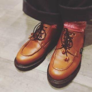仕事の相棒Paraboot。ちょっとゴツめのシルエットと歩きやすさがお気に入りです♪HP:@shoecaregirls#靴磨き女子部# 靴磨き女子部セガール #paraboot #parabootchambord #ゴツめの靴が好き #mowbraymania