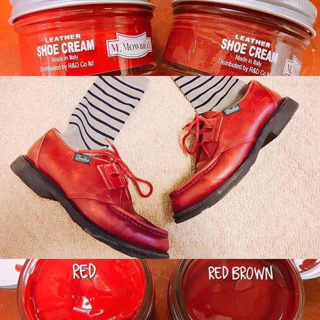 赤い靴。まっ赤というより、赤茶の靴クリームが相性よし♡m.mowbrayのシュークリームのレッドブラウンで革靴磨きHP: @shoecaregirls#靴磨き女子部 #バクバクコアラ#paraboot#年季入った革靴#そろそろ色を足さないと#色あせが目立つ頃#靴磨き#革靴手入れ#mowbrayシュークリーム全50色になりました#shoecare#シューケア#シューケア自慢#mowbraymania