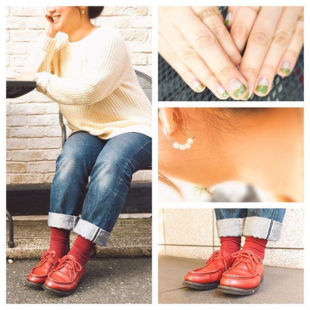 お洋服や小物に赤を使うのが好きなので、今日は靴を赤のparabootに♪ HP:@shoecaregirls#靴磨き女子部のコーディネート#靴磨き女子部#バクバクコアラ #paraboot#パラブーツ#mowbraymania#ootd#ネイルはセルフ#まだまだぶきっちょジェルネイル#セルフネイル部#手元はお気に入りのリングたち #cocoshinik#hawaianjewelly#artistry_i#デニムコーデ