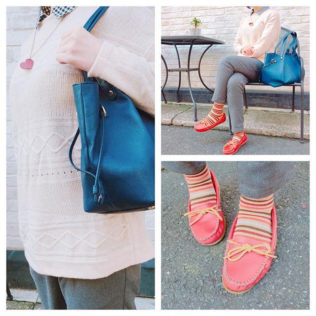 お気に入りのミネトンカのスムースレザー。明るいオレンジが良いですよね。ネックレスは浅草の松屋に期間限定で入っていたお店にて。無地のニットに合わせるとアクセントになります♪#shoecaregirls #靴磨き女子部 #ハスキー犬 #ハスキーケン #パンプス #モカシン #オレンジ #革靴 #ミネトンカ #minnetonka #パンツ #靴下 #おしゃれ #エナメル #足元クラ部 #mowbraymania #モゥブレィ同盟 #靴磨き #革靴手入れ #バッグ #diana #ダイアナ #チェックシャツ #globalwork #ニット #limitededition #ネックレス #通勤スタイル HP:@shoecaregirls