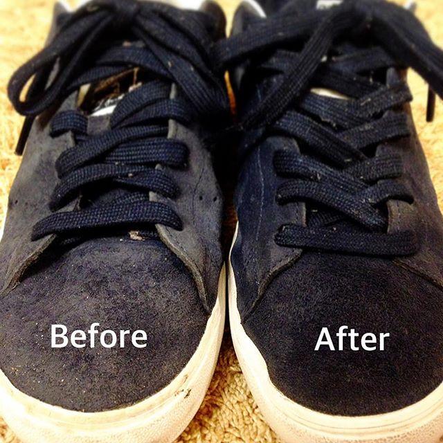 スエードのお手入れしましたブラシとフレニューを使ってキレイになりました!#靴磨き女子部オノシャルD #革靴手入れ#スニーカー#基本お手入れ#スエード