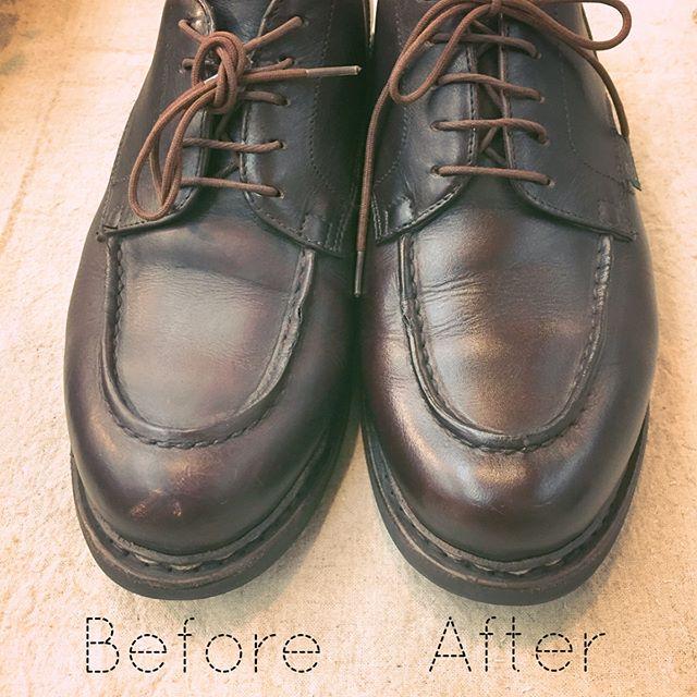 無色のクリームだけで靴に潤いとツヤが戻ります!自然なツヤ感が好きです。細かい傷だって目立たなくなるんですよ M.モゥブレィ プレステージクリームナチュラーレ¥2000+taxHP:@shoecaregirls #靴磨き女子部#靴磨き女子部ピンクレンジャー#モゥブレィ#クリームナチュラーレ#パラブーツ#革靴女子#エイジングケア#paraboot#shoecare#footwear #mowbray #mowbraymania #shoecaregirls #ナチュラル系#革のお手入れ #自然の恵み#革靴が好き