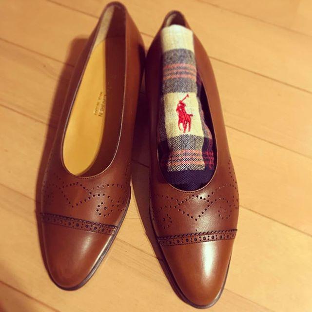ラルフローレンのパンプス🏇秋っぽいオシャレしたいですね#オノシャルD #靴磨き女子部 #秋#ラルフローレン#パンプス#9月23日は靴磨きの日