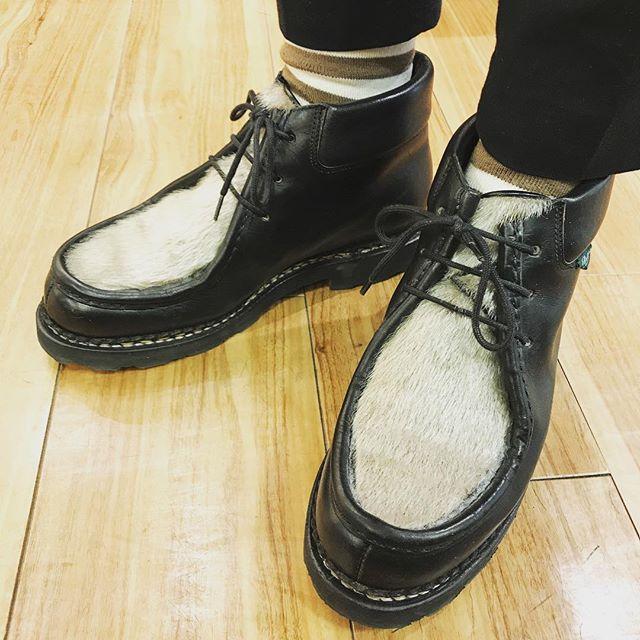 雨ですね********#パラブーツ #ミリー#paraboot #shoes#shoeshine#socks #靴下#足元倶楽部 #パラブーツミリー#エスプリ軍曹登場 #雨の日コーデ #春よ来い