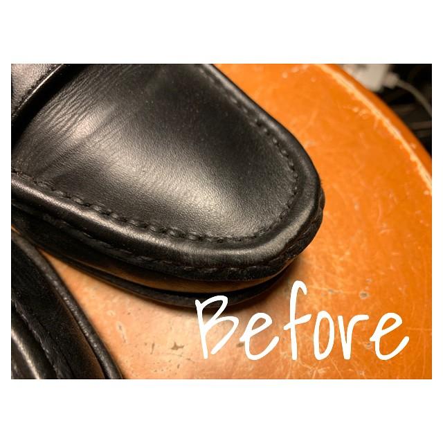 つま先の色褪せ…お化粧してあげるだけで靴全体が綺麗に見える!#靴磨き女子部#靴磨き女子部y #shoecaregirls #mowbray #mowbraymania #デリケートクリームブラック#靴磨き#補色