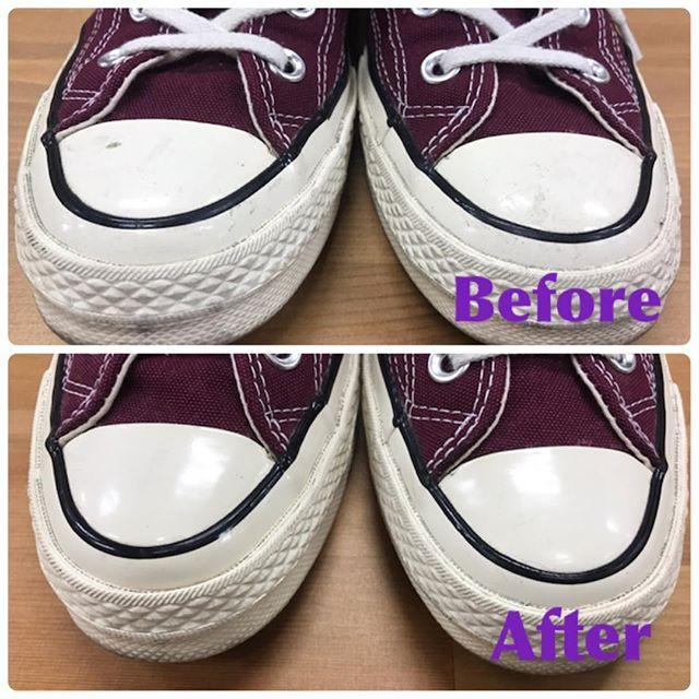 ラバーソールの汚れにはマルチカラーローションで簡単お手入れできます#mowbray#靴磨き女子部e #converse#ct70#shoecare
