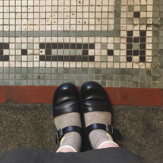 いい床があったのでパシャリお散歩には歩きやすい靴でいきます。