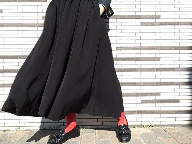 ワンピースには革靴の合わせが好きです